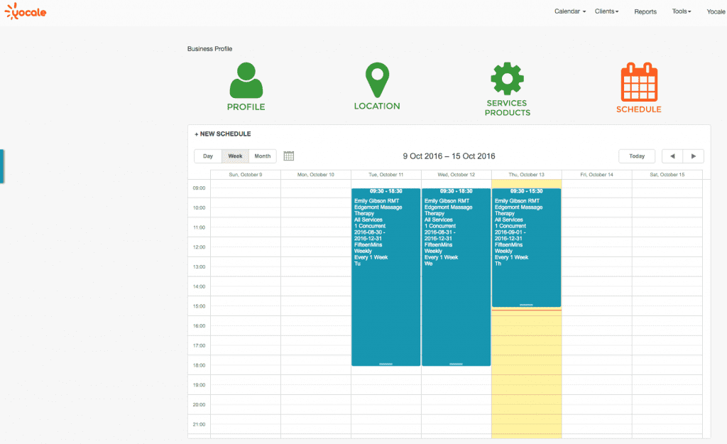 Yocale Schedule View
