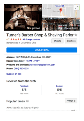 Reserve with google button on a barbershop Google My Business page by Yocale