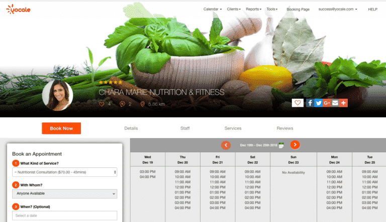 Yocale Online scheduling booking profile page
