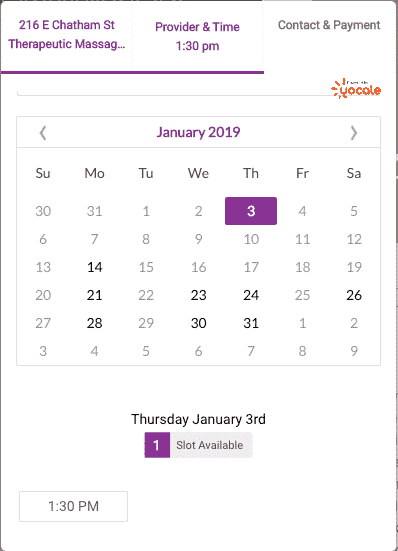 Yocale online scheduling website booking widget
