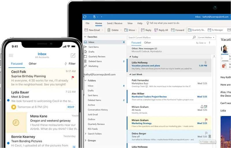outlook tablet iphone