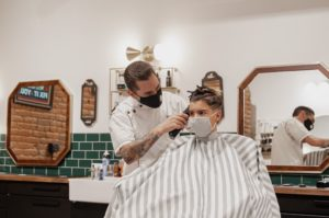 barbershop customes wears facemask